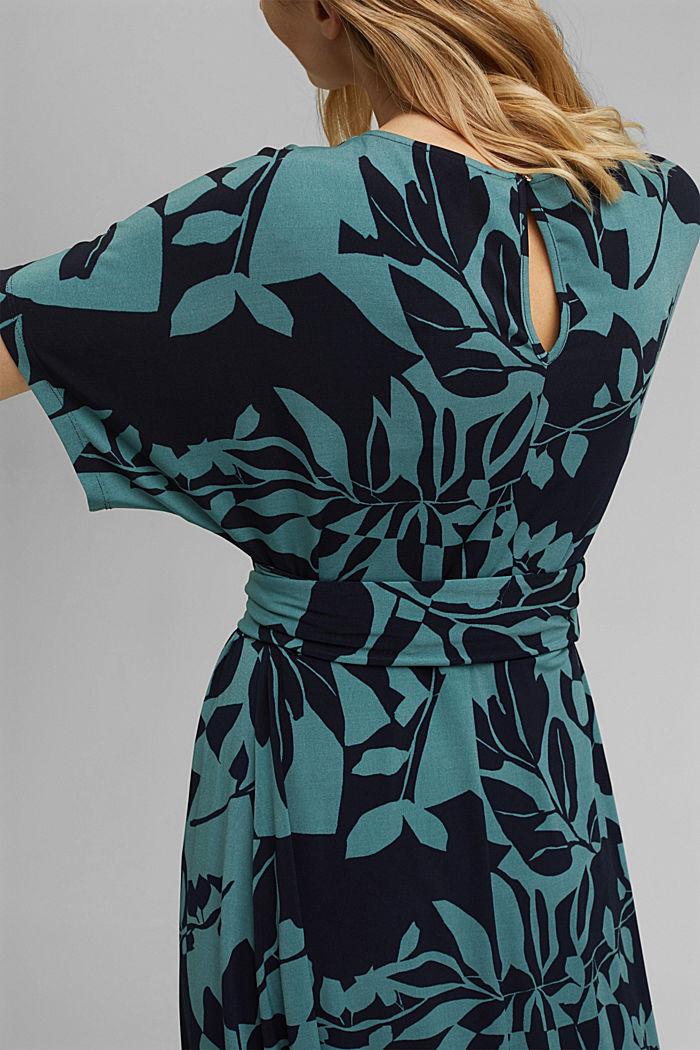 Recycelt: Jersey-Kleid mit Botanik-Print, NAVY, detail image number 3