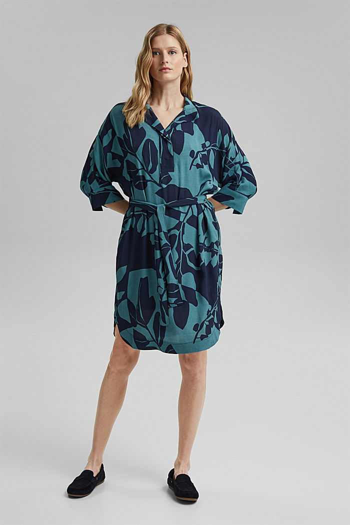 Dress with a botanical print and LENZING™ ECOVERO™, NAVY, detail image number 1
