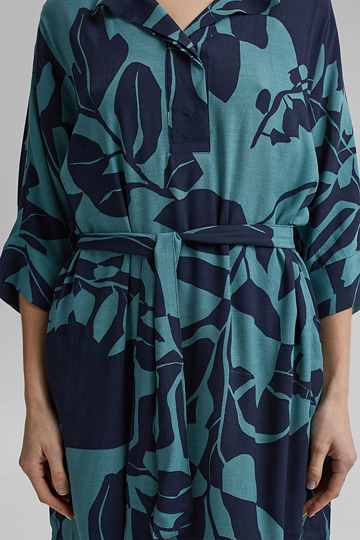 Dress with a botanical print and LENZING™ ECOVERO™, NAVY, detail image number 3