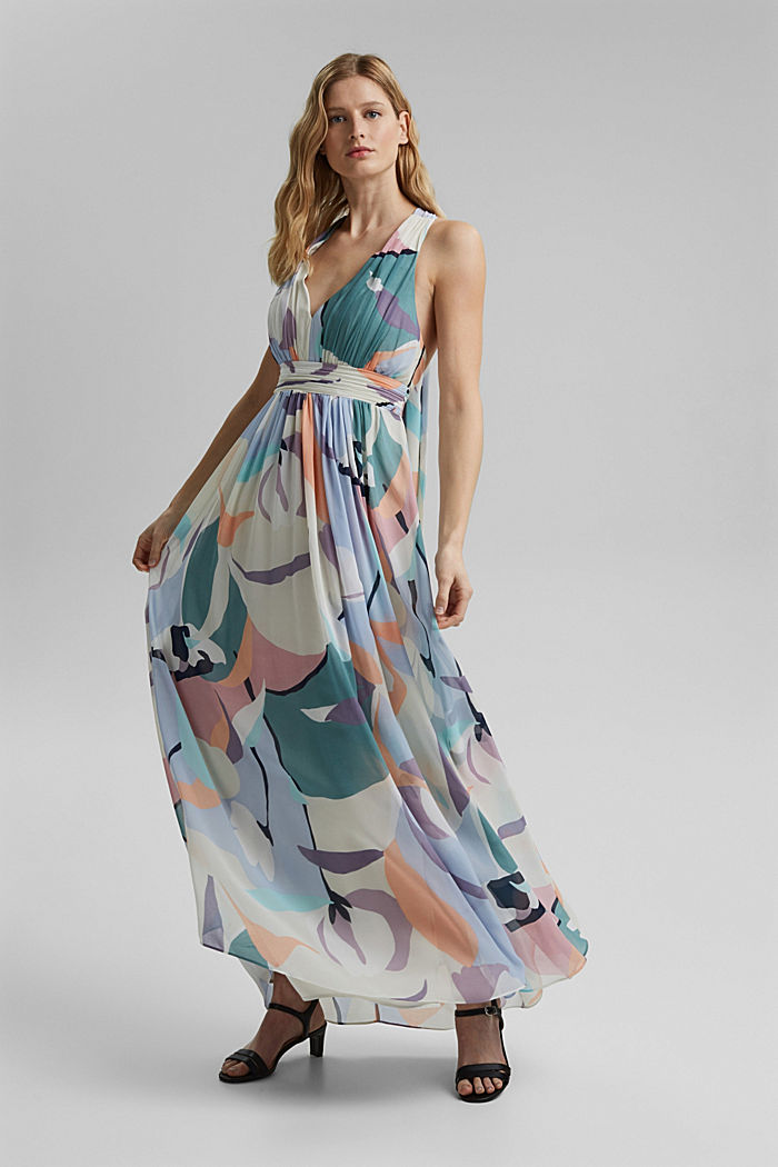 Gerecycled: maxi-jurk van chiffon, PURPLE COLORWAY, detail image number 1
