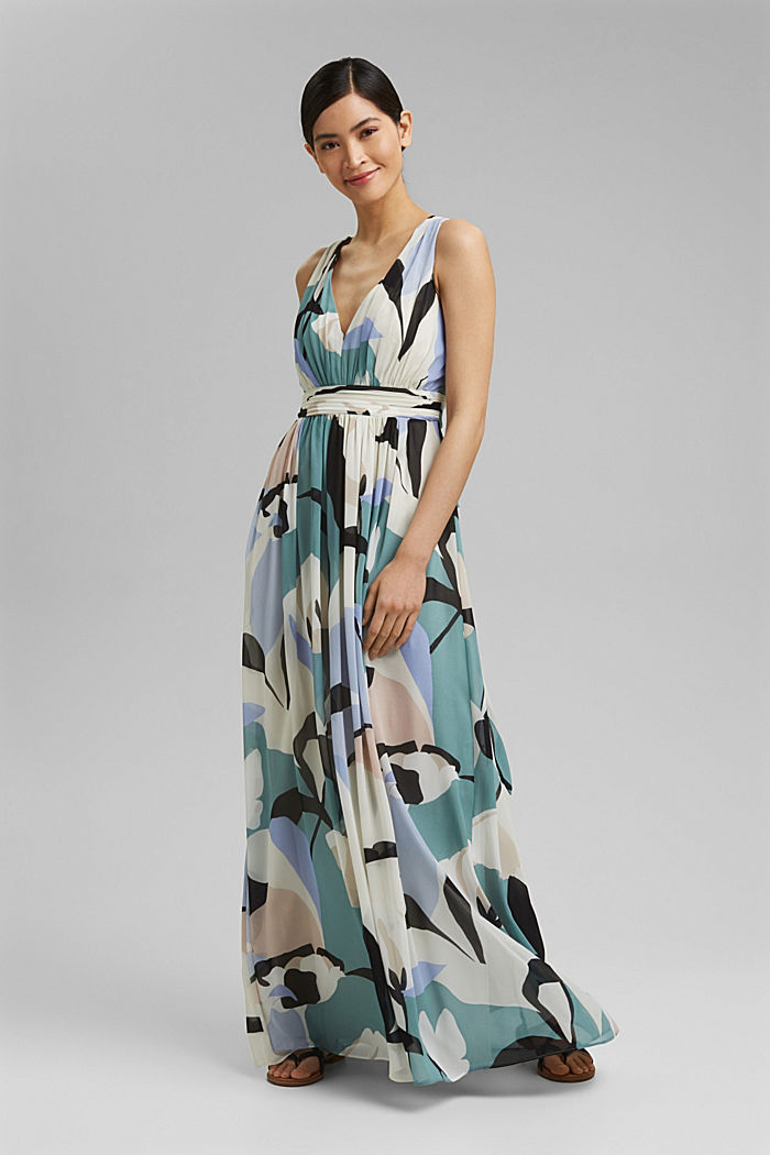 Recycled: chiffon maxi dress, DARK TURQUOISE, detail image number 0