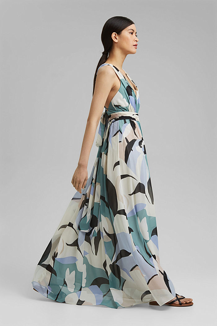 Recycled: chiffon maxi dress, DARK TURQUOISE, detail image number 1