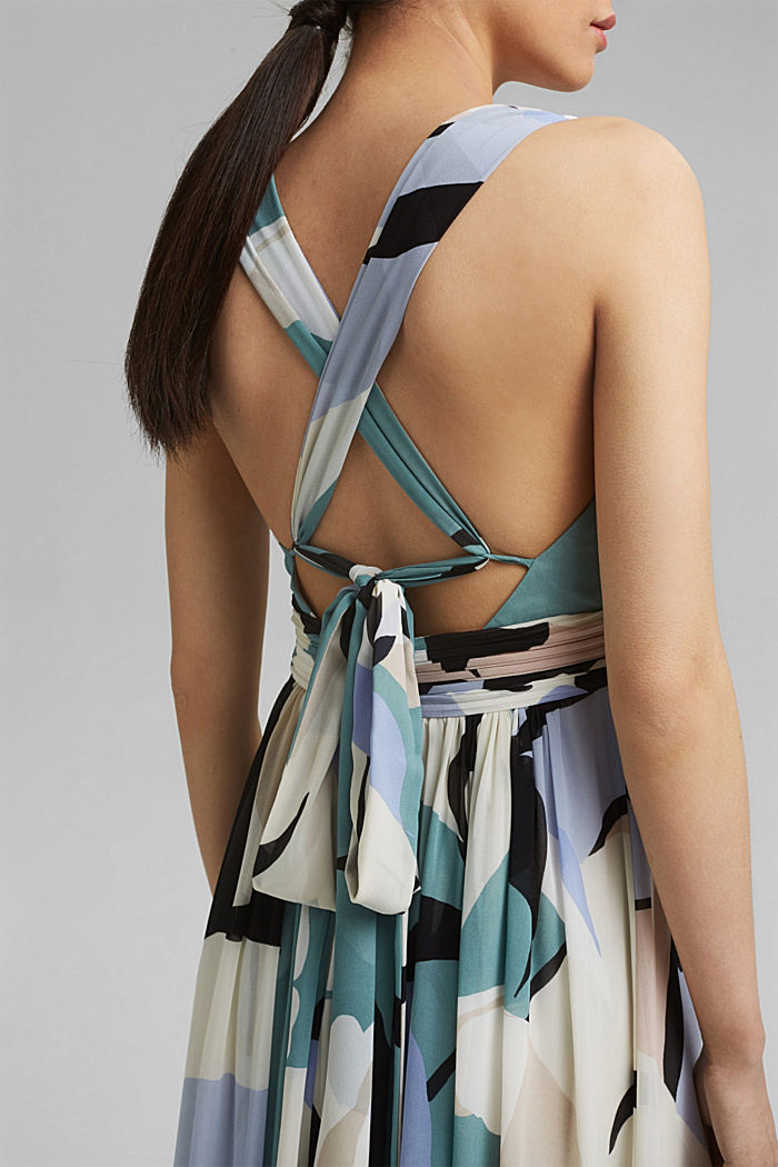 Recycled: chiffon maxi dress, DARK TURQUOISE, detail image number 3