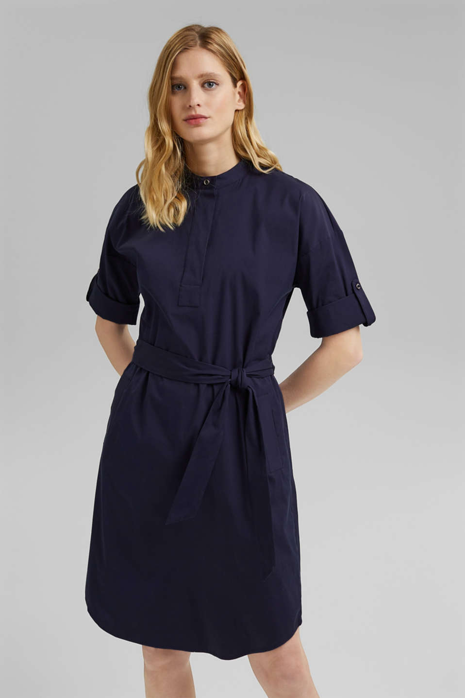 Esprit - Shirt dress with a tie-around belt