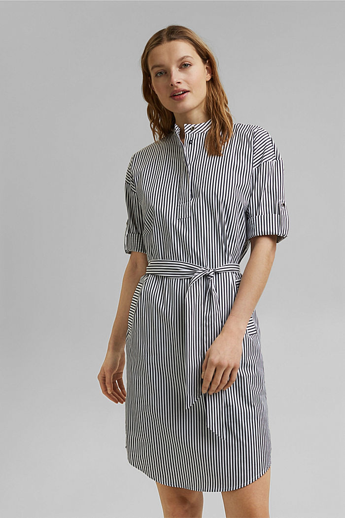 Shirt dress with a stripe pattern, NAVY, detail image number 0