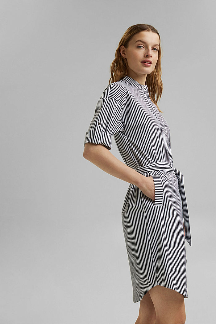 Shirt dress with a stripe pattern, NAVY, detail image number 4