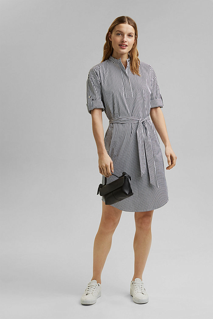 Shirt dress with a stripe pattern, NAVY, detail image number 1