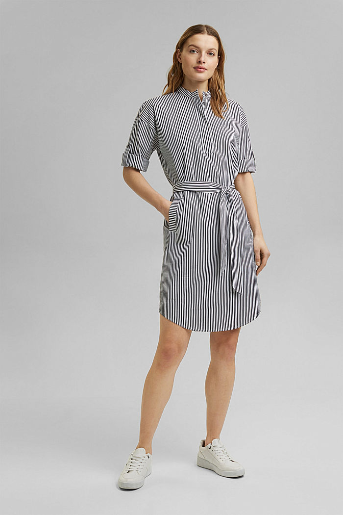 Shirt dress with a stripe pattern, NAVY, detail image number 7