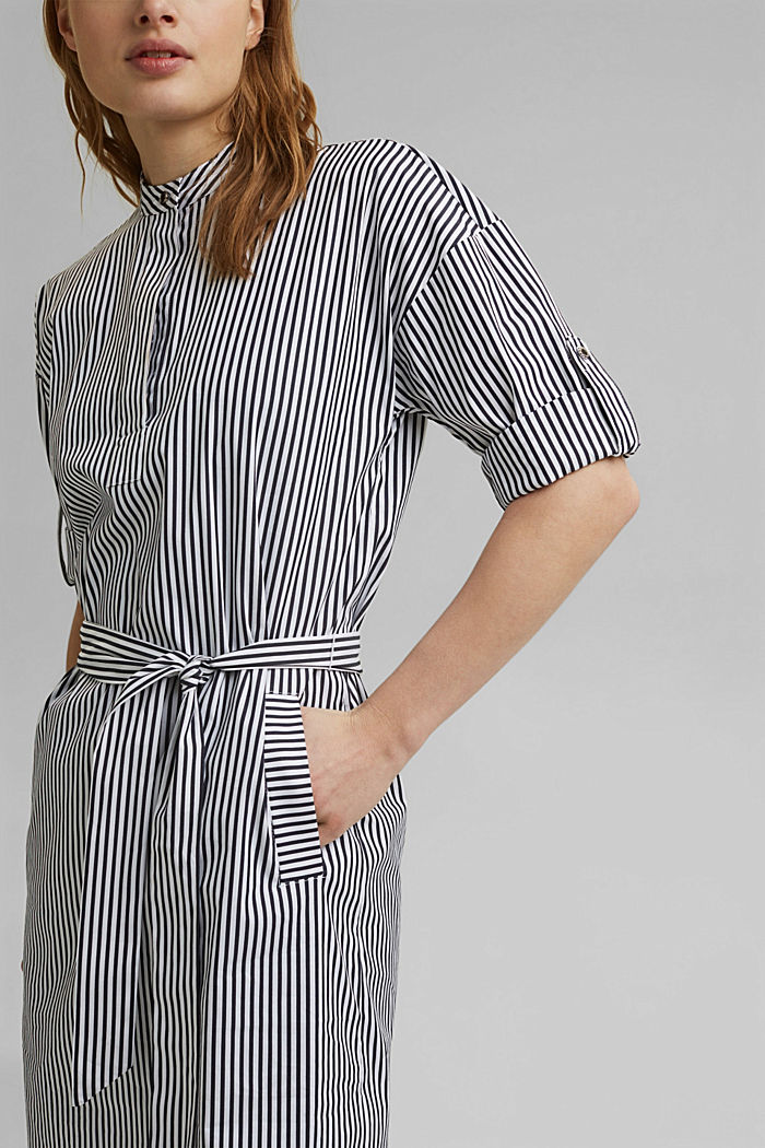 Shirt dress with a stripe pattern, NAVY, detail image number 3