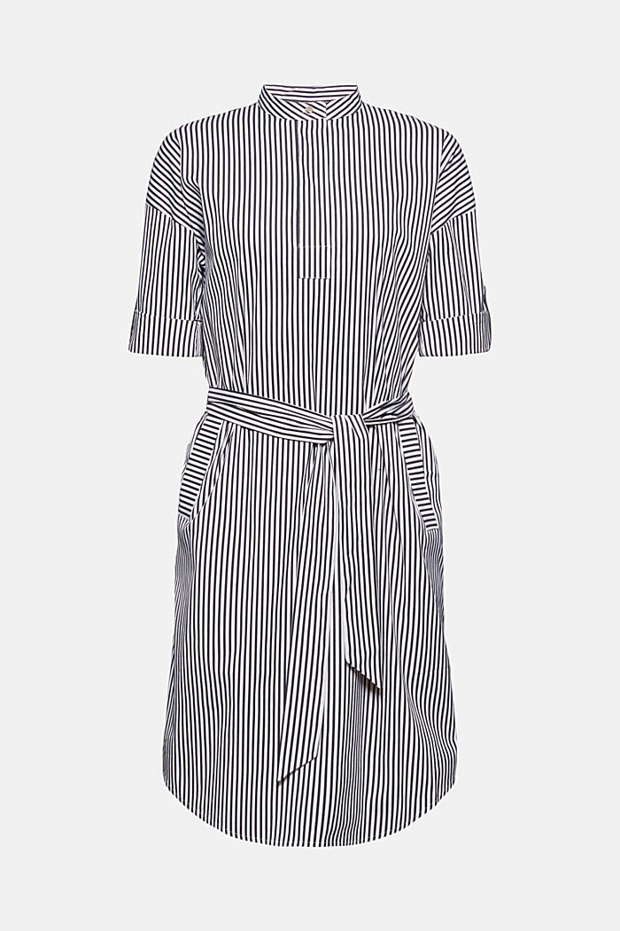 Shirt dress with a stripe pattern, NAVY, detail image number 8