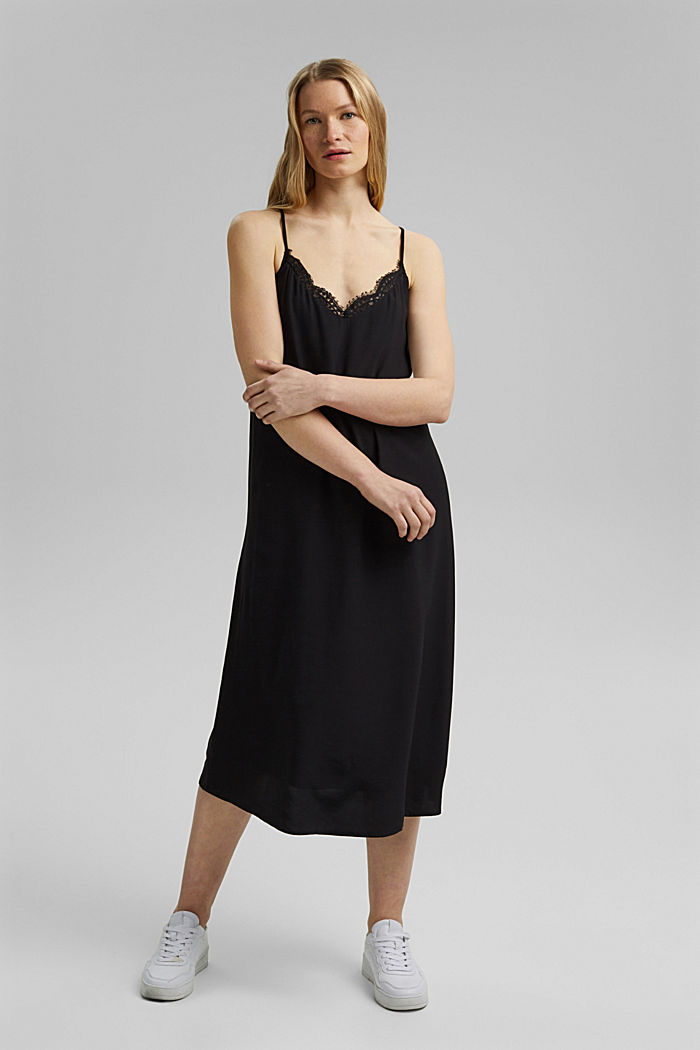 Midi dress with lace, LENZING™ ECOVERO™, BLACK, detail image number 0