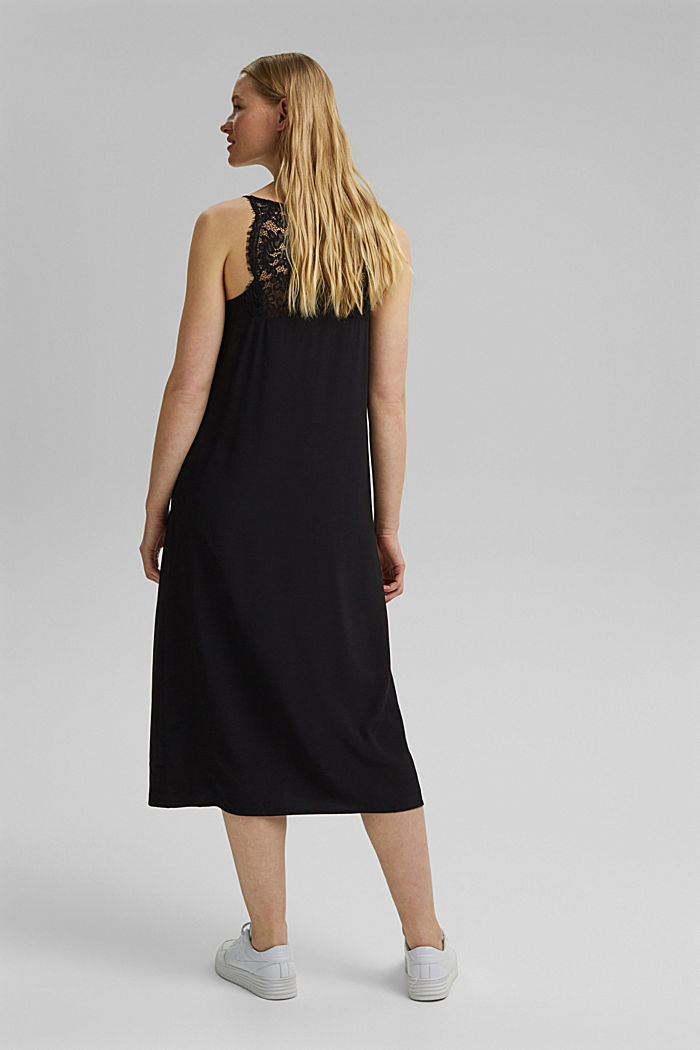 Midi dress with lace, LENZING™ ECOVERO™, BLACK, detail image number 2