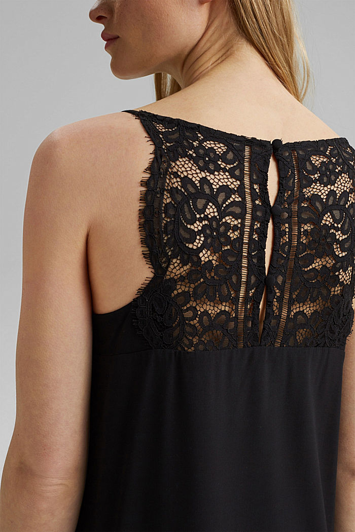 Midi dress with lace, LENZING™ ECOVERO™, BLACK, detail image number 5