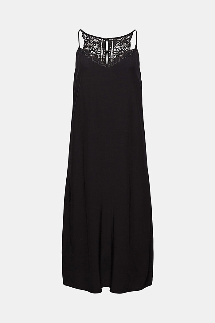 Midi dress with lace, LENZING™ ECOVERO™, BLACK, detail image number 7