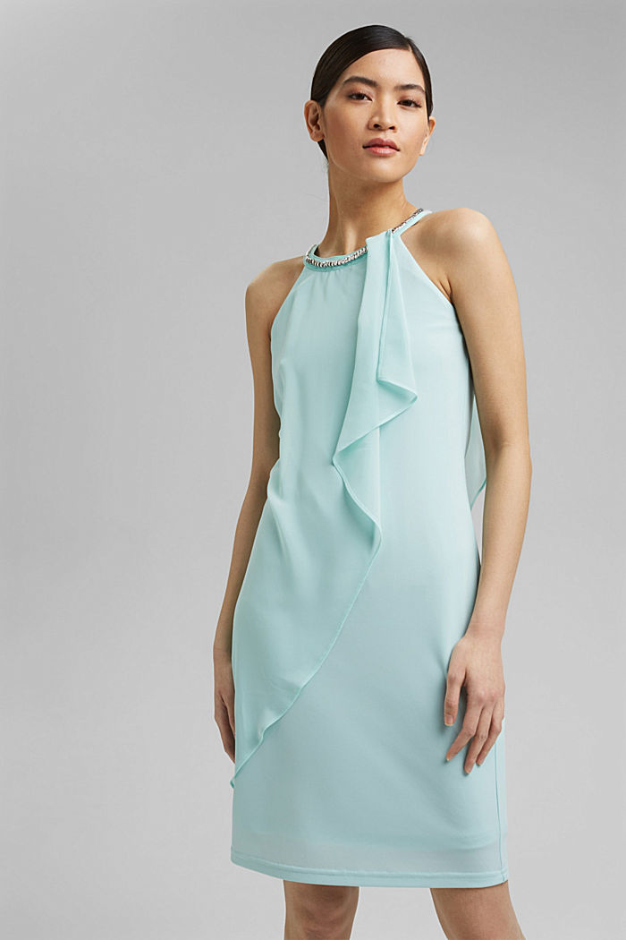 Layered-effect chiffon dress with decorative studs, LIGHT TURQUOISE, detail image number 0