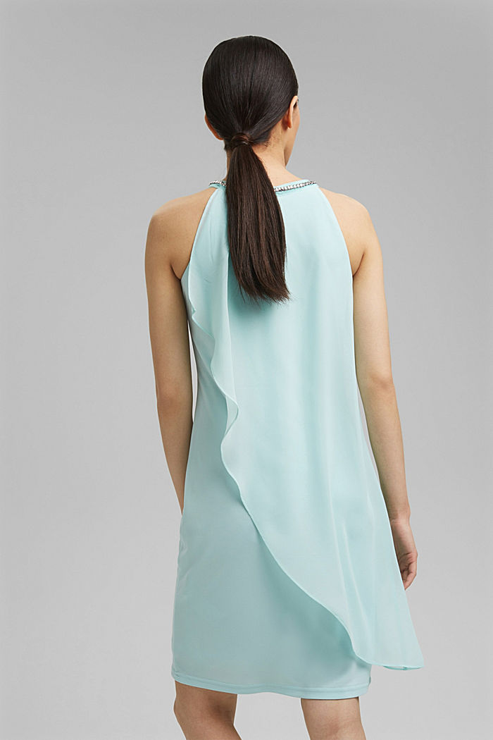 Layered-effect chiffon dress with decorative studs, LIGHT TURQUOISE, detail image number 2