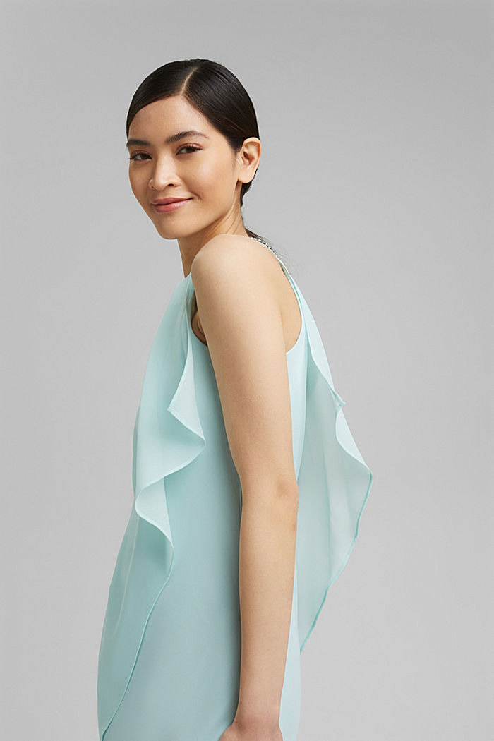 Layered-effect chiffon dress with decorative studs, LIGHT TURQUOISE, detail image number 5
