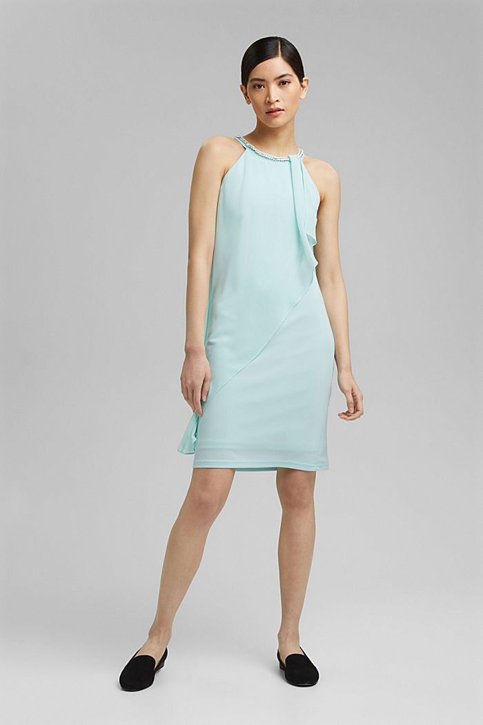 Layered-effect chiffon dress with decorative studs, LIGHT TURQUOISE, detail image number 1