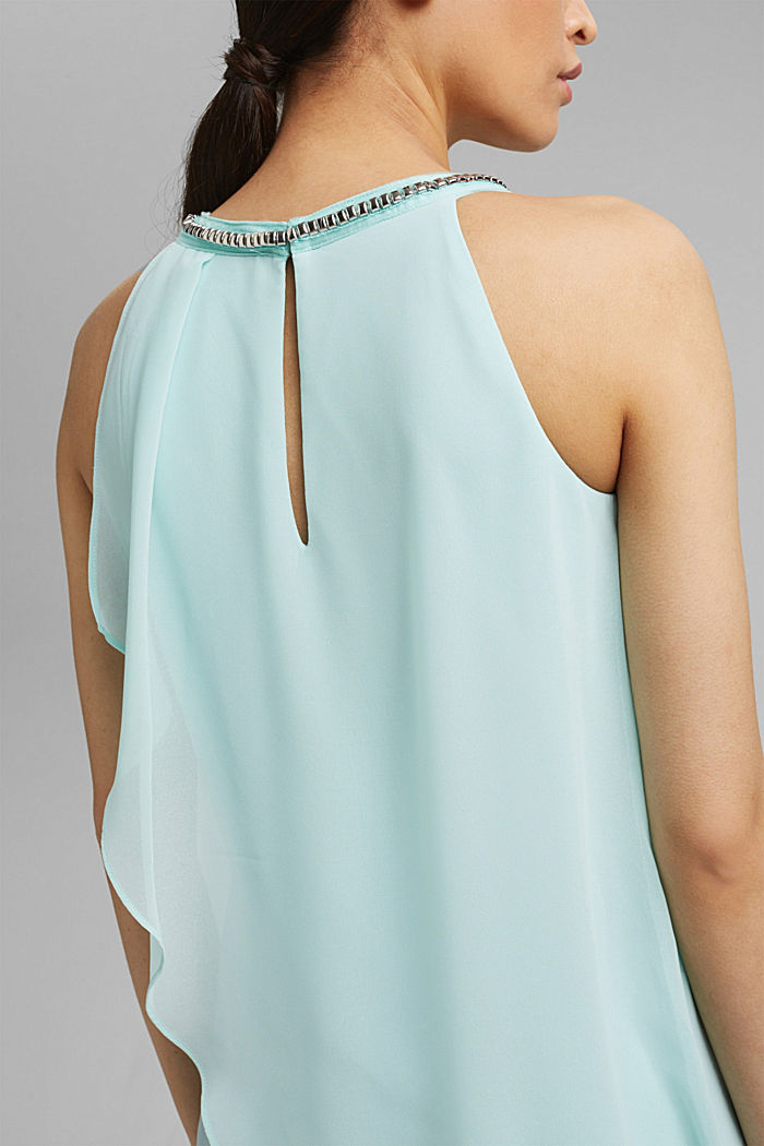 Layered-effect chiffon dress with decorative studs, LIGHT TURQUOISE, detail image number 3