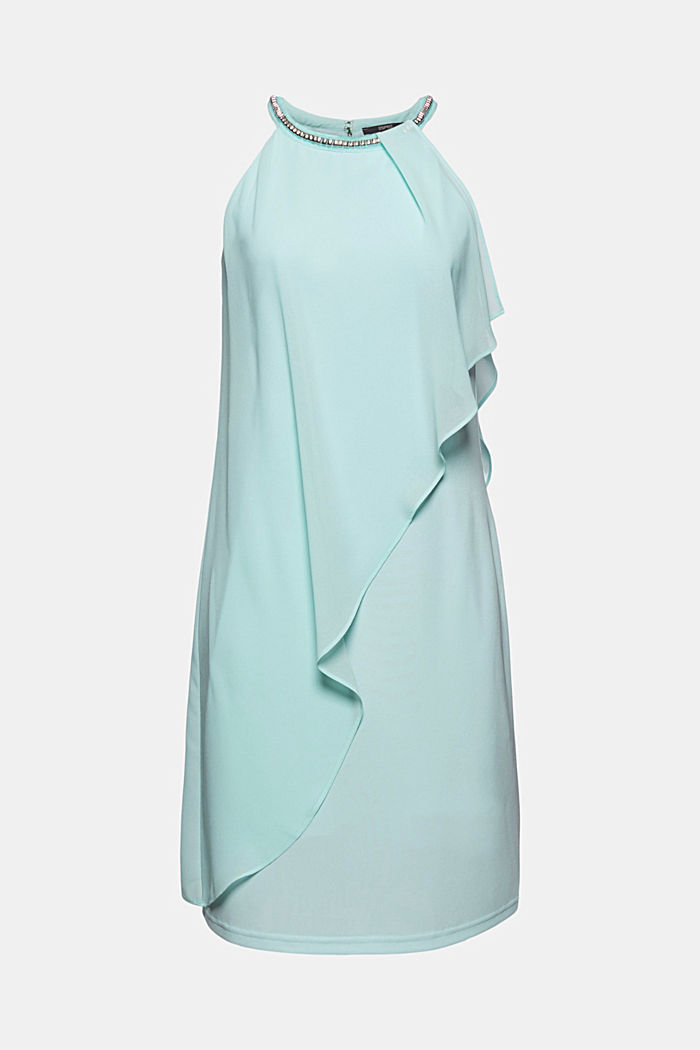 Layered-effect chiffon dress with decorative studs, LIGHT TURQUOISE, detail image number 6