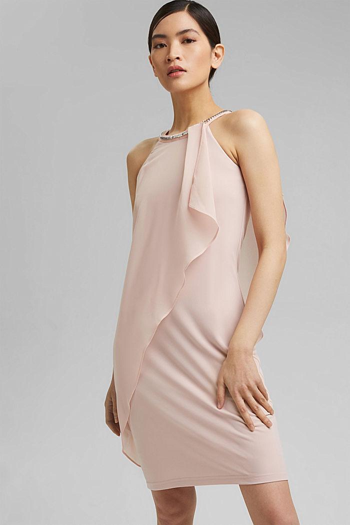 Chiffon-Kleid im Layer-Look mit Schmucknieten, NUDE, detail image number 0