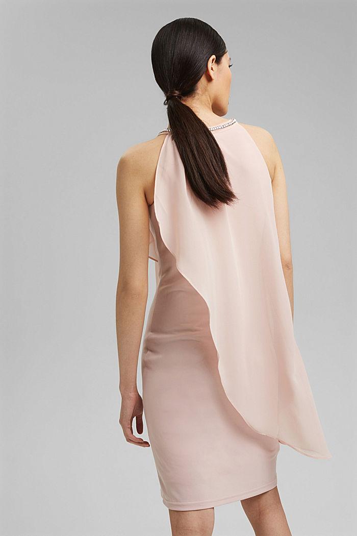 Chiffon-Kleid im Layer-Look mit Schmucknieten, NUDE, detail image number 2