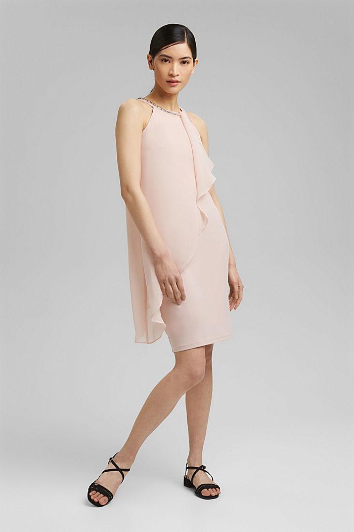 Chiffon-Kleid im Layer-Look mit Schmucknieten, NUDE, detail image number 1