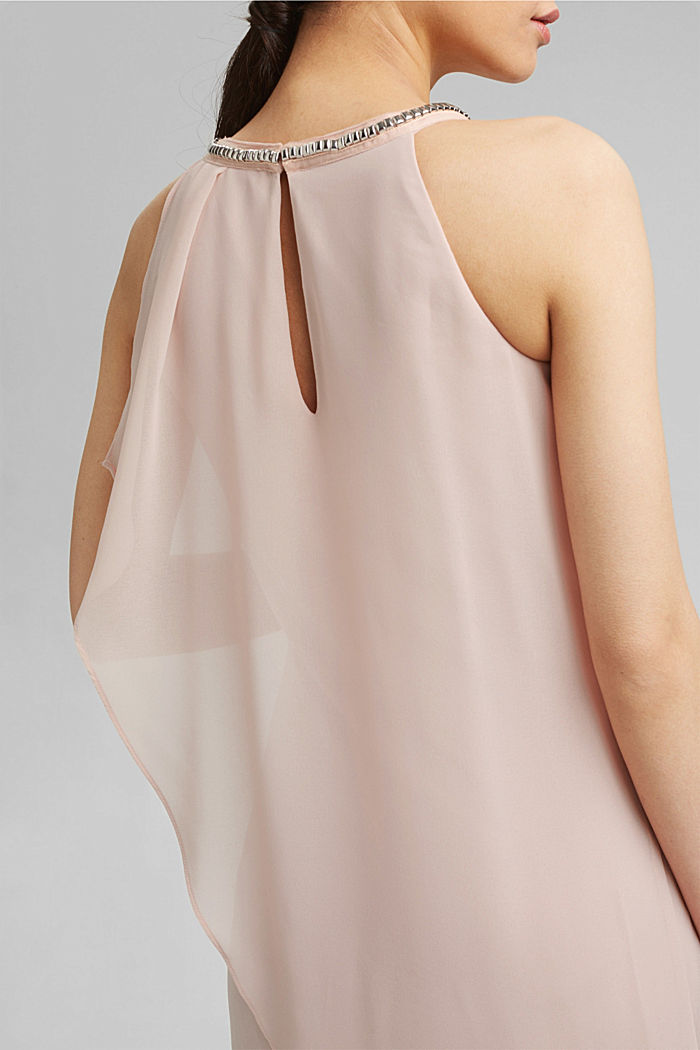 Chiffon-Kleid im Layer-Look mit Schmucknieten, NUDE, detail image number 3
