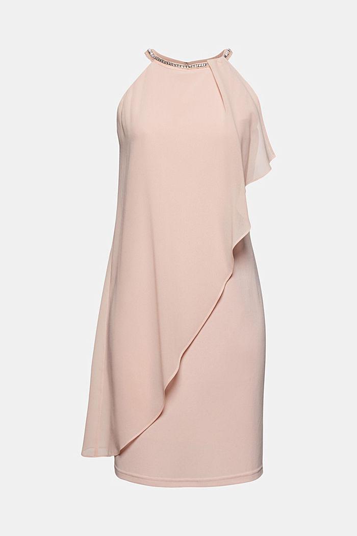 Chiffon-Kleid im Layer-Look mit Schmucknieten, NUDE, detail image number 5
