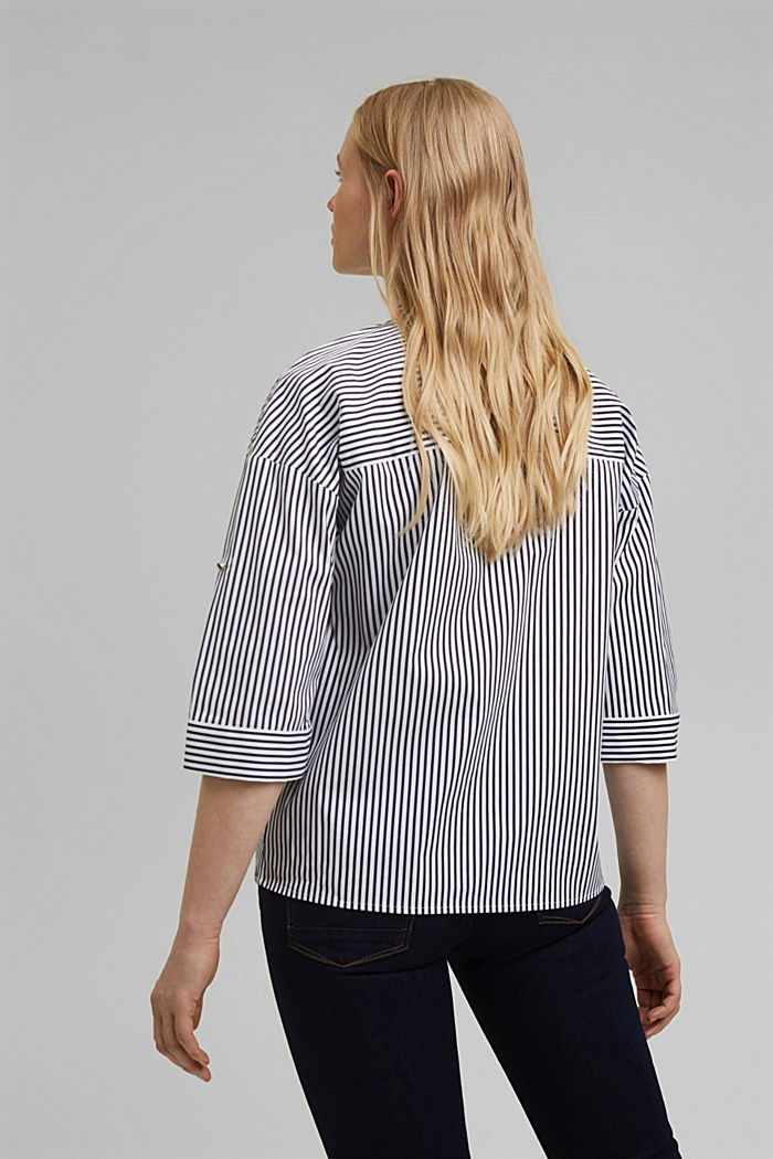 Blouse with a buttoned stand-up collar, NAVY, detail image number 3