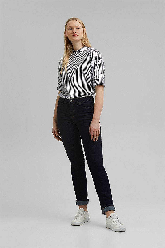 Blouse with a buttoned stand-up collar, NAVY, detail image number 1