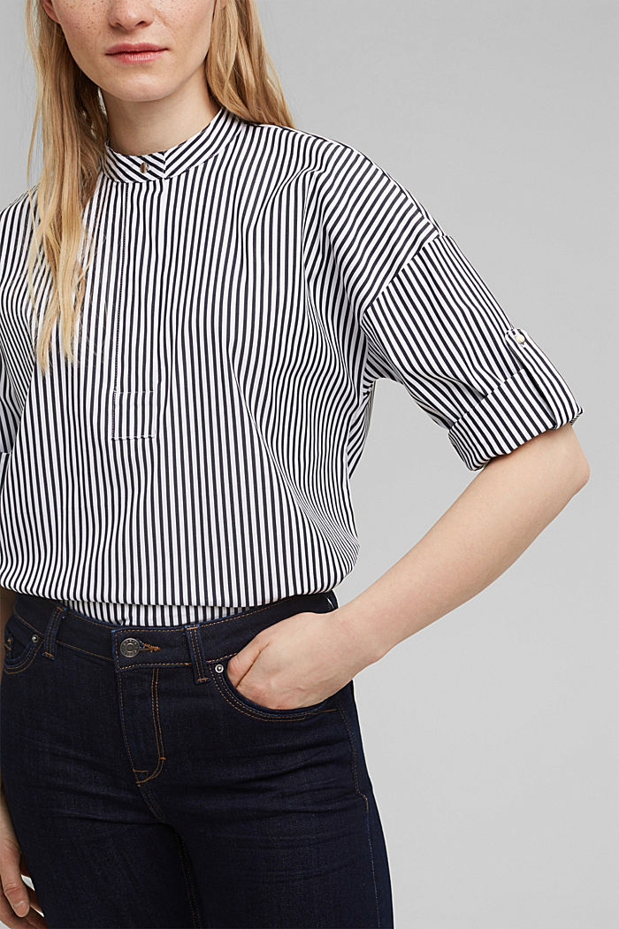 Blouse with a buttoned stand-up collar, NAVY, detail image number 2