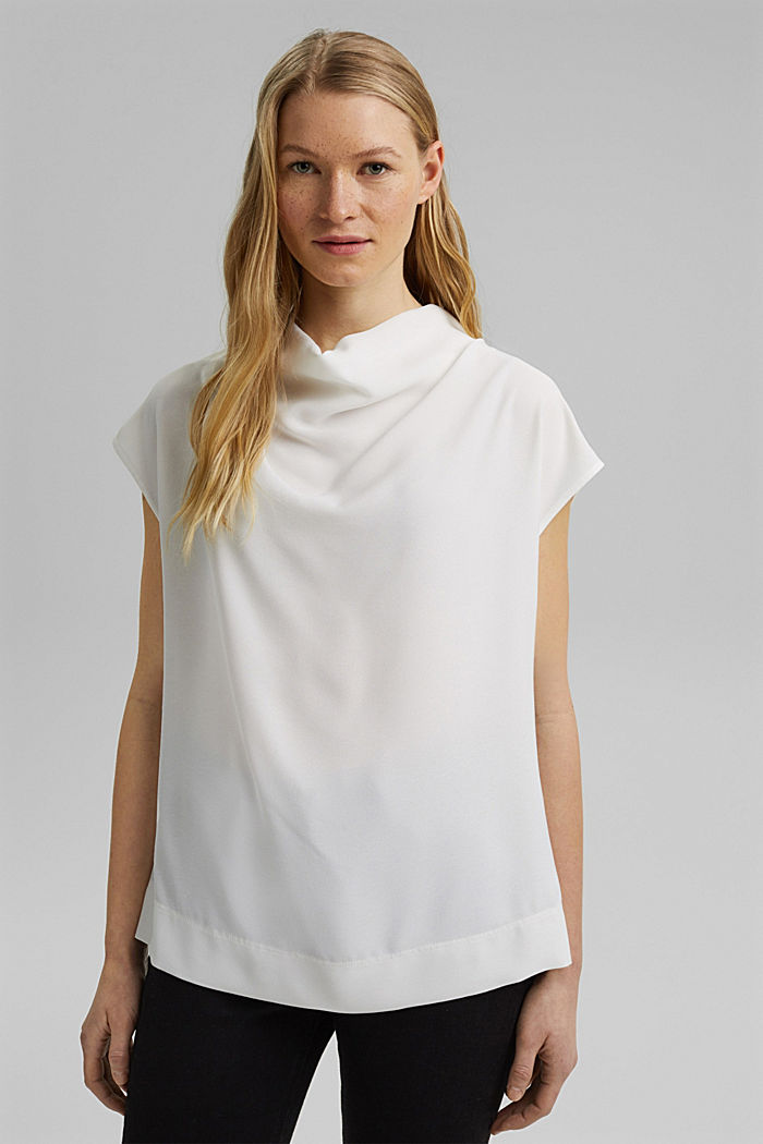 Waterfall blouse made of crêpe, OFF WHITE, detail image number 0