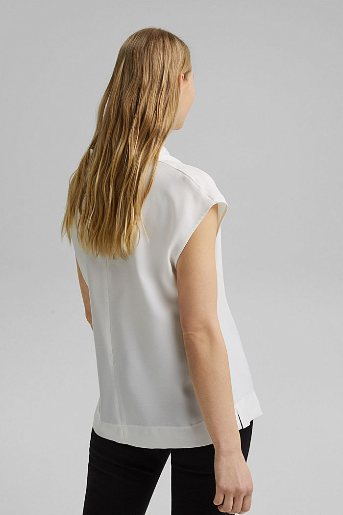 Waterfall blouse made of crêpe, OFF WHITE, detail image number 3