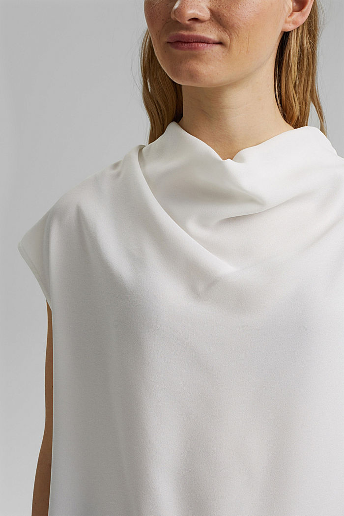 Waterfall blouse made of crêpe, OFF WHITE, detail image number 2