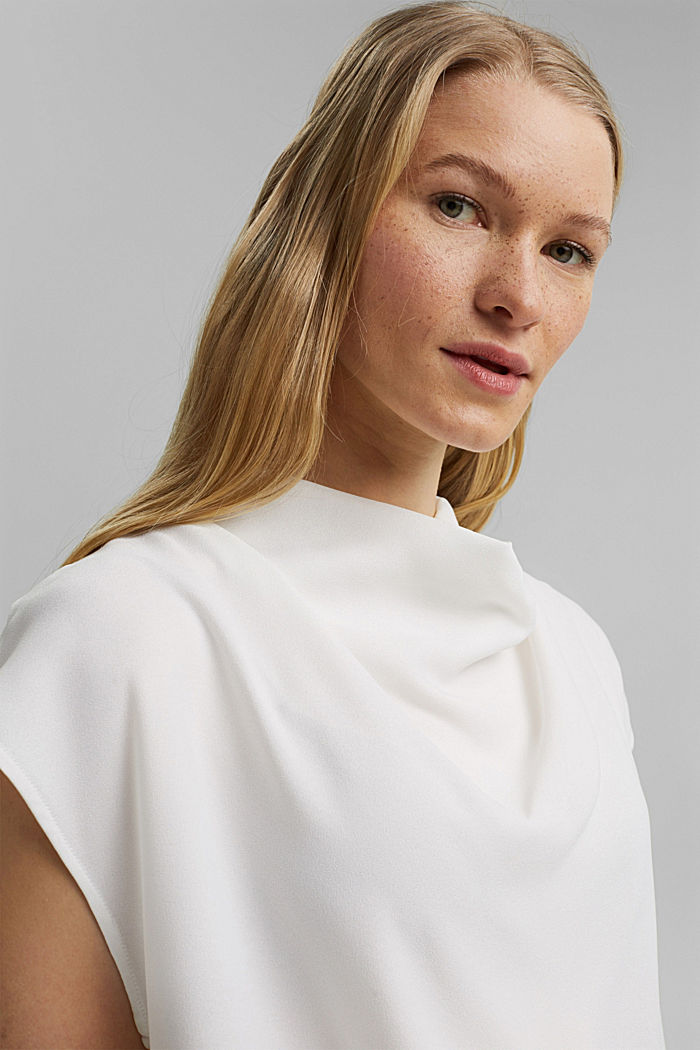 Waterfall blouse made of crêpe, OFF WHITE, detail image number 7