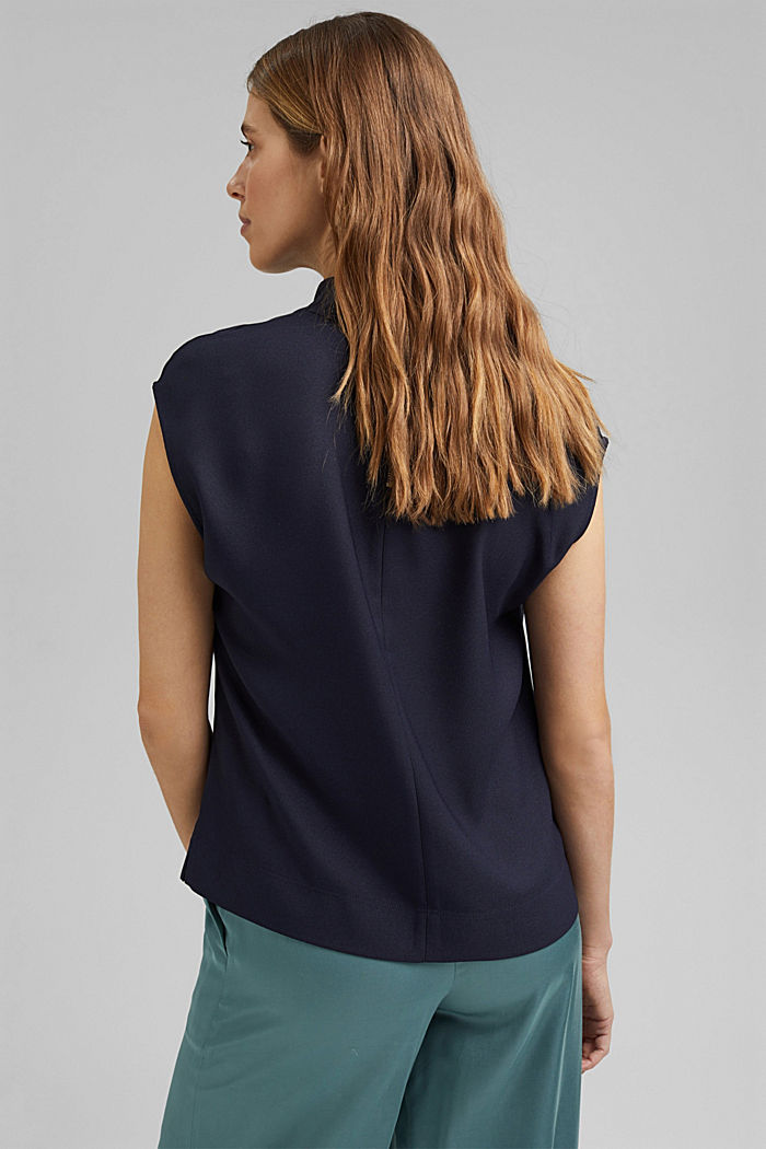 Waterfall blouse made of crêpe, NAVY, detail image number 3