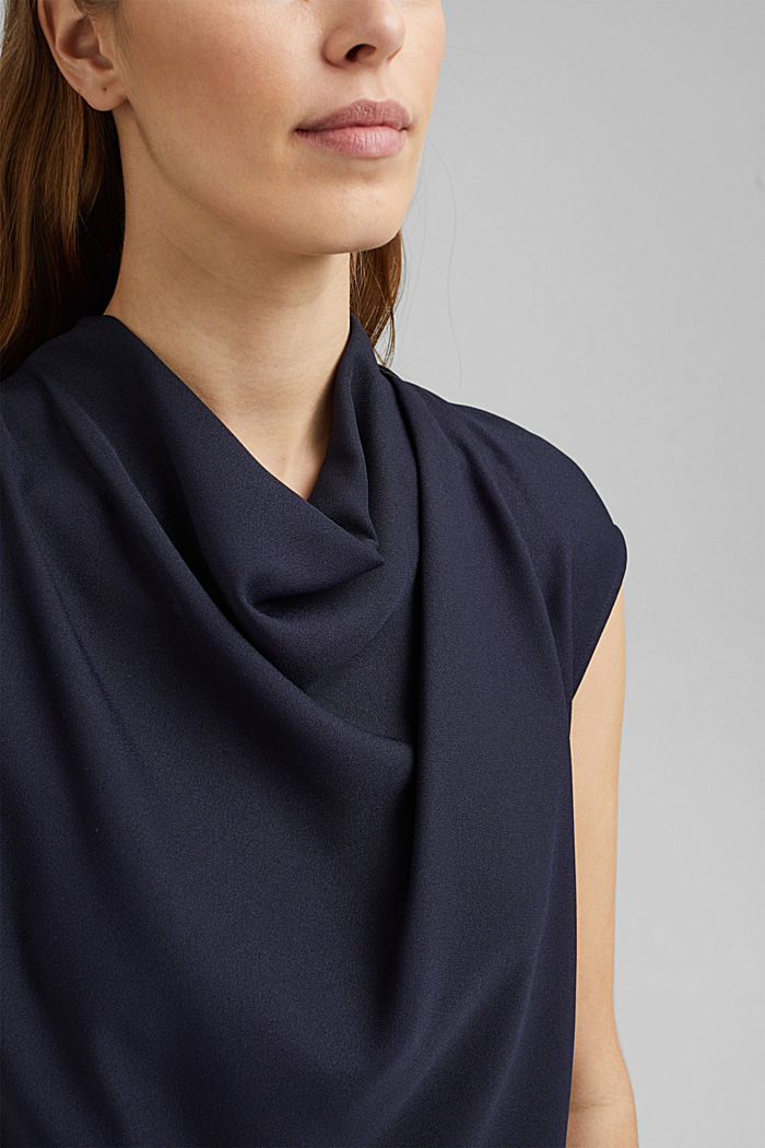 Waterfall blouse made of crêpe, NAVY, detail image number 2