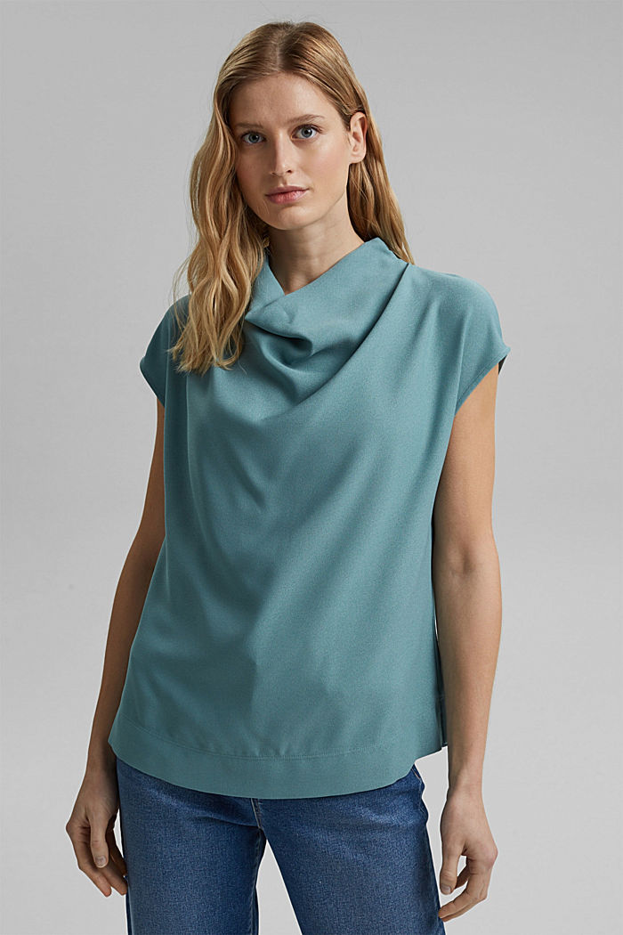 Waterfall blouse made of crêpe, DARK TURQUOISE, detail image number 0