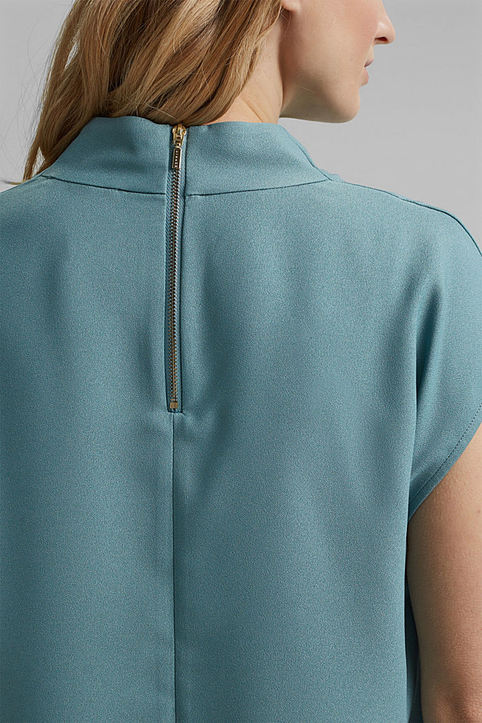 Waterfall blouse made of crêpe, DARK TURQUOISE, detail image number 5