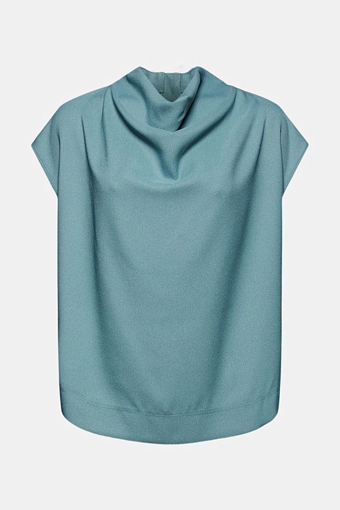 Waterfall blouse made of crêpe, DARK TURQUOISE, detail image number 6