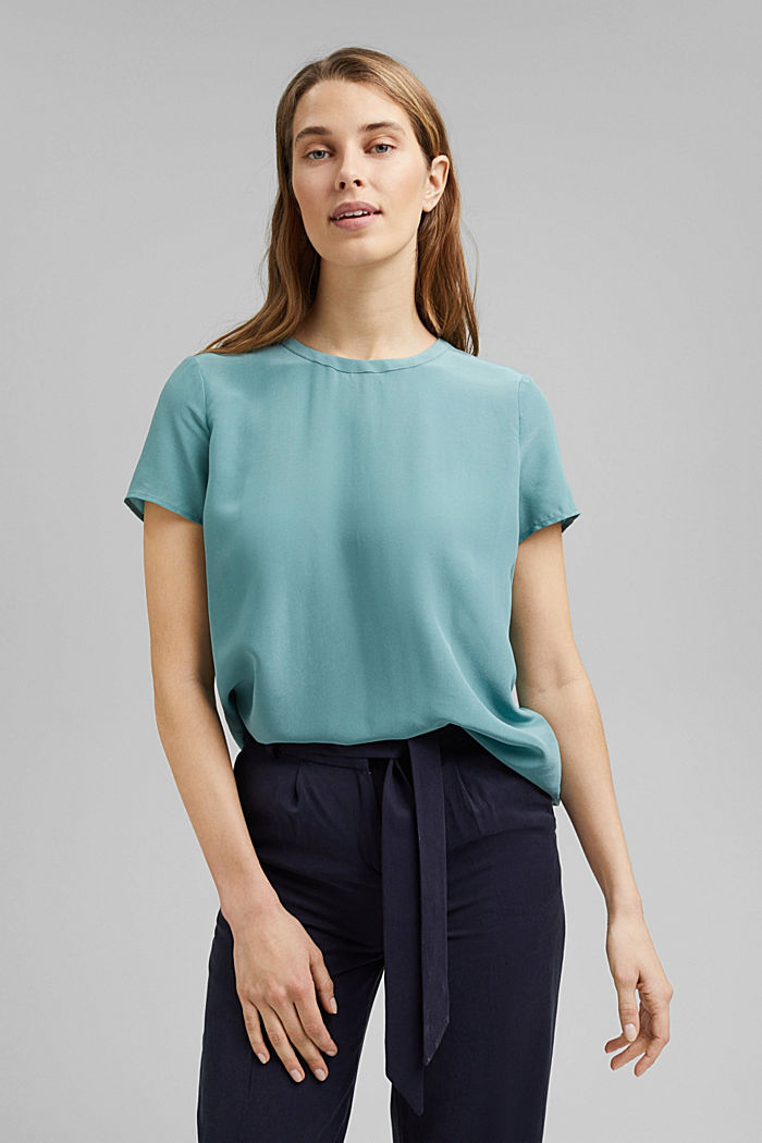 Made of blended silk: blouse top