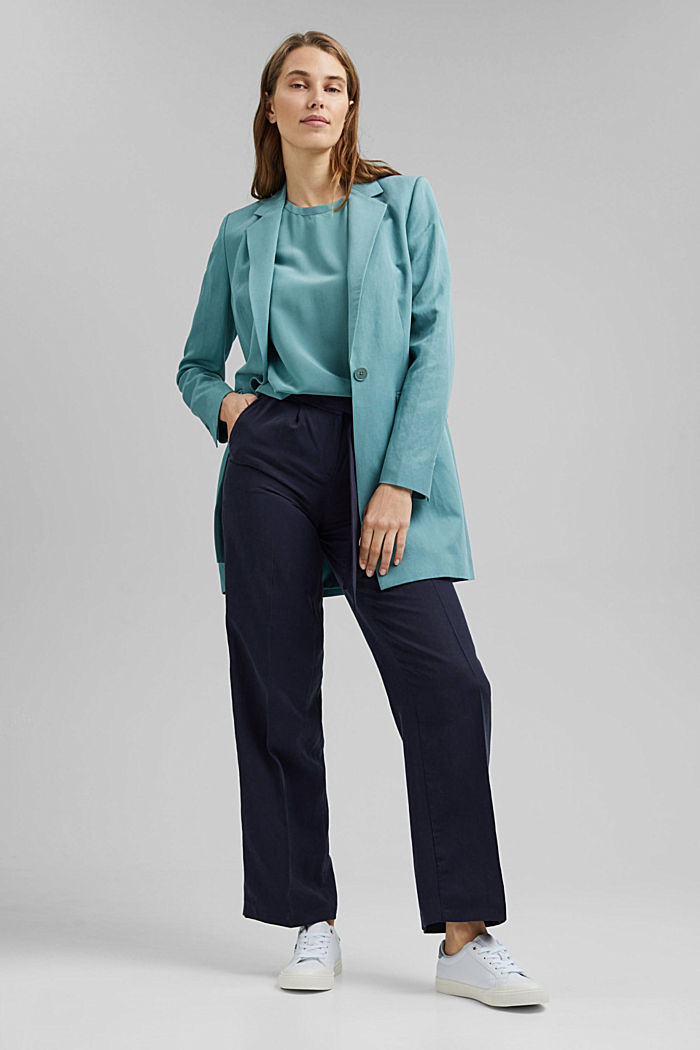 Made of blended silk: blouse top, DARK TURQUOISE, detail image number 1