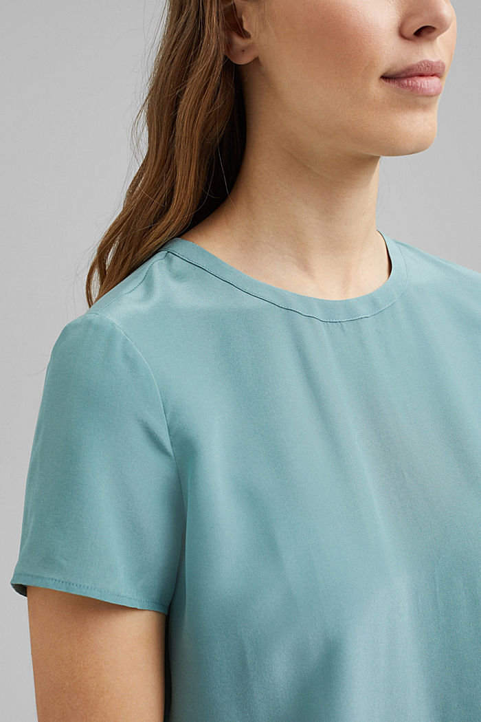 Made of blended silk: blouse top, DARK TURQUOISE, detail image number 2