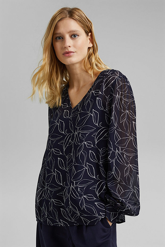 2-In-1 printed blouse, NAVY, detail image number 0