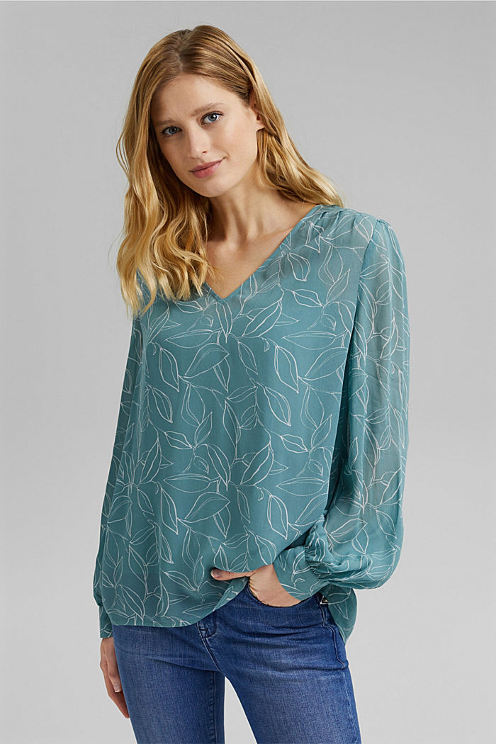 2-In-1 printed blouse, DARK TURQUOISE, detail image number 0