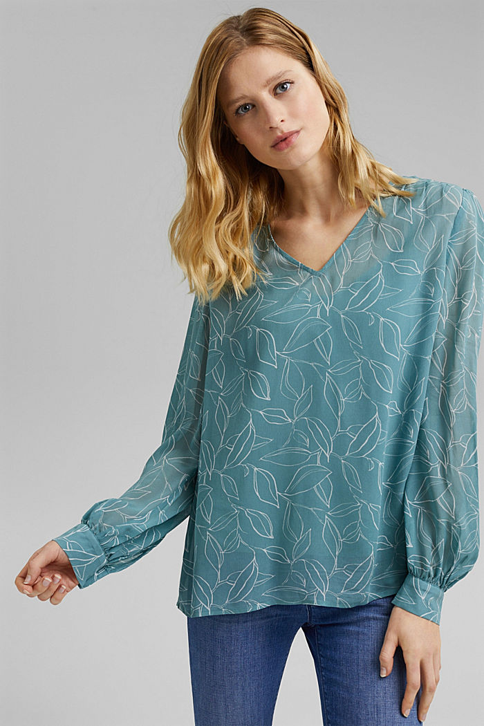 2-In-1 printed blouse, DARK TURQUOISE, detail image number 5