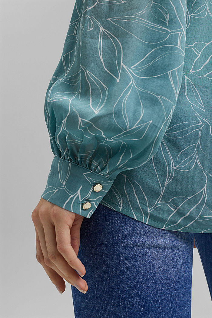 2-In-1 printed blouse, DARK TURQUOISE, detail image number 2