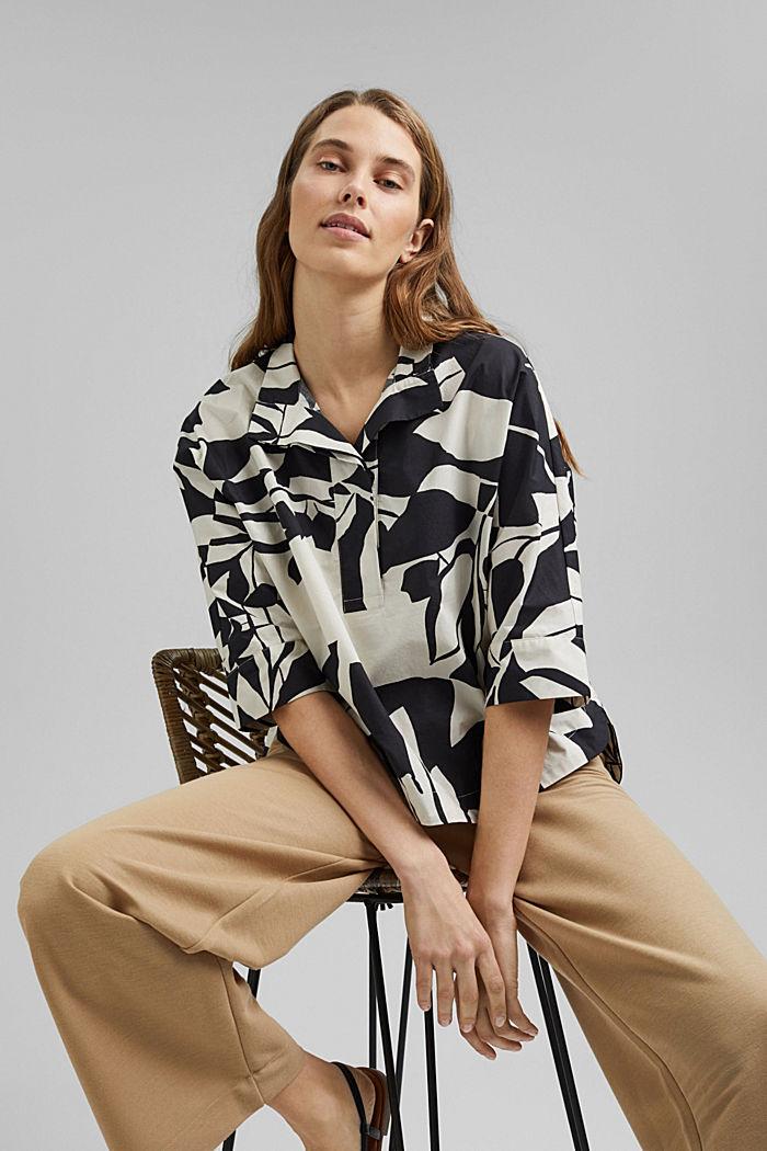 Bluse aus Baumwoll-Popeline mit Botanik-Print