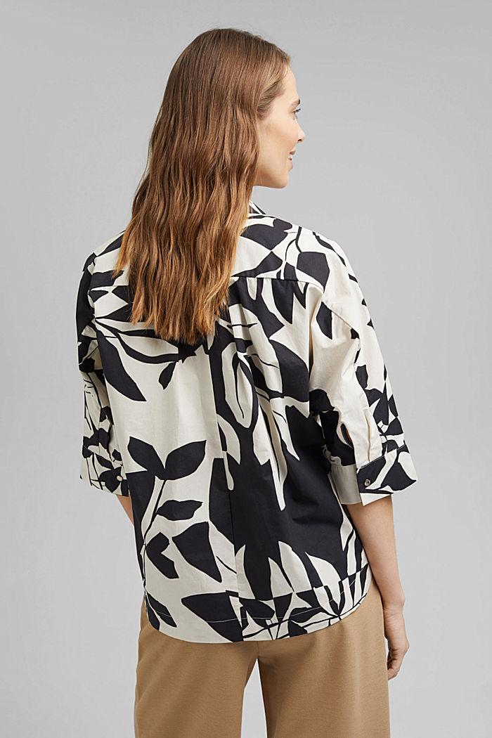 Cotton poplin blouse with botanical print, BLACK, detail image number 3